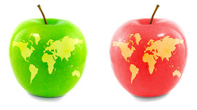 Weltkarte auf Äpfeln Stockfotografie
