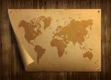 Weltkarte auf altem Papier. Stockfotos