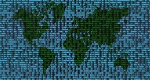 Weltkarte auf Binärzahlen Stockfoto