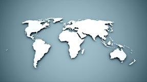 Weltkarte auf Blau Stockfotos