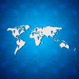 Weltkarte auf blauem Hintergrund Stockbild