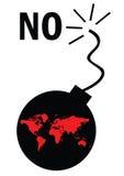 Weltkarte auf Bombe Lizenzfreies Stockfoto