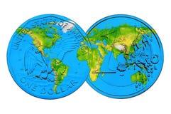 Weltkarte auf Dollar- und Euromünzen Stockfoto
