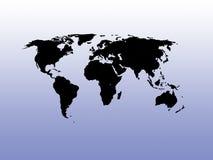 Weltkarte auf einem Steigunghintergrund Stockfoto