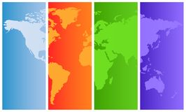 Weltkarte auf farbigen Panels Lizenzfreies Stockfoto