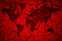 Weltkarte auf gebrochenem rotem Hintergrund Lizenzfreies Stockbild