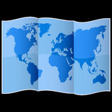 Weltkarte auf gefaltetem Papier lizenzfreie abbildung