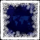Weltkarte auf gefrorenem Fenster Stockbild