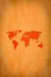Weltkarte auf grunge Hintergrund Stockfotografie