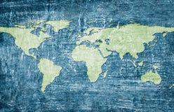 Weltkarte auf grunge Hintergrund Lizenzfreie Stockfotos