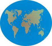 Weltkarte auf Kugel Stockfoto