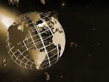 Weltkarte auf Rasterfeld. Lizenzfreies Stockbild