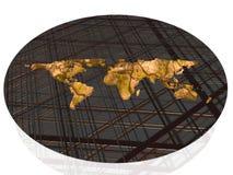 Weltkarte auf Rasterfeld. Lizenzfreies Stockfoto