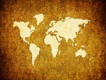 Weltkarte auf Retro- Papier Stockfotografie