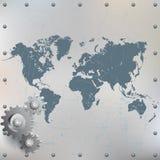 Weltkarte auf Schmutz, verkratztes, befestigtes metallisches Blatt lizenzfreie abbildung