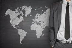 Weltkarte auf Tafel Lizenzfreie Stockfotos