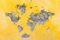 Weltkarte auf Wand Lizenzfreie Stockbilder