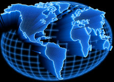 Weltkarte belichtet Stockfoto