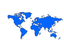 Weltkarte (blau) Stockbild