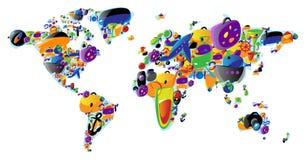 Weltkarte der bunten Ikonen Stockbilder