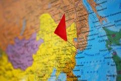Weltkarte in der russischen Sprache Stockfoto