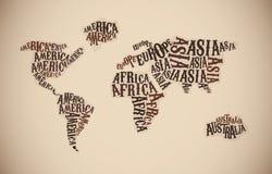 Weltkarte in der Typografie Kontinentwörter Stockfotografie