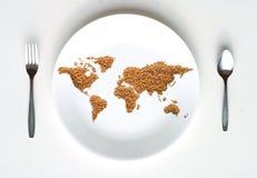 Weltkarte des Kornes auf Platte Lizenzfreies Stockfoto