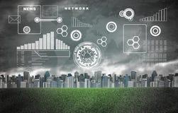 Weltkarte, Diagramme, Kreise und Gebäude mit Lizenzfreies Stockfoto