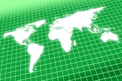 Weltkarte, die auf das Rasterfeld glüht Stockbild