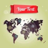 Weltkarte für die Werbung, Website, Design, infographics Vektorillustration, -broschüren und -flieger Lizenzfreies Stockbild