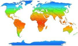 Weltkarte farbige Kontinente auf Weiß Stock Abbildung