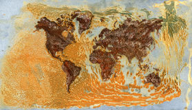 Weltkarte gebildet vom realen Rost Lizenzfreie Stockfotografie