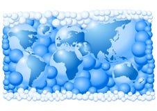Weltkarte gebildet von den Luftblasen Stockbilder