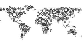 Weltkarte gemacht von den Zähnen und von den Rädern lizenzfreie abbildung