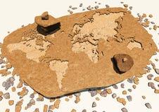 Weltkarte geschnitzt im Felsen. Fossil Stockfotografie
