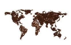 Weltkarte gezeichnet mit Kaffee Lizenzfreies Stockfoto