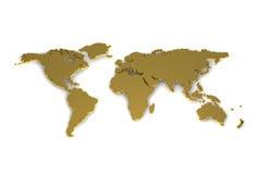 Weltkarte Gold. Illustration einer Weltkarte in Gold erstellt in 3D royalty free illustration