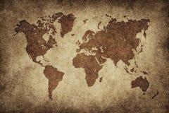 Weltkarte im Weinlesehintergrund Lizenzfreie Stockfotografie