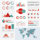Weltkarte infographic Stockfotos
