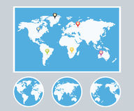 Weltkarte Infographic-Art-Satz Lizenzfreie Stockfotos