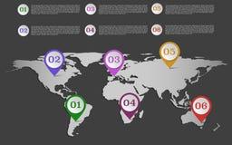 Weltkarte infographic mit Satz von den Bändern oder von Kreis (gerundet) PO Stockfotografie
