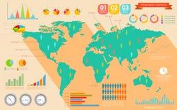 Weltkarte Infographics lizenzfreie abbildung