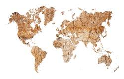 Weltkarte - Kontinente vom trockenen geverlassenen Boden Stockfoto