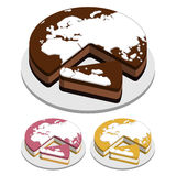 Weltkarte-Kuchen Stockbilder