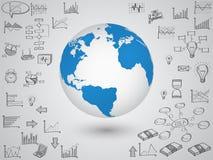 Weltkarte-Kugel mit Netzikonen, Geschäftsikonen und Technologieikonen für Technologie und Geschäftskonzept stock abbildung