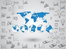 Weltkarte-Kugel mit Netzikonen, Geschäftsikonen und Technologieikonen für Technologie und Geschäftskonzept lizenzfreie abbildung