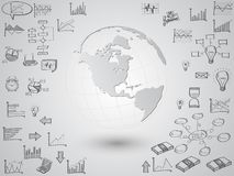 Weltkarte-Kugel mit Netzikonen, Geschäftsikonen und Technologieikonen für Technologie und Geschäftskonzept vektor abbildung