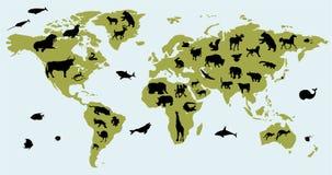Weltkarte mit Abbildungen der Tiere Lizenzfreie Stockbilder
