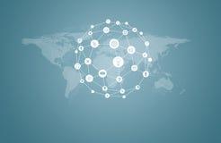Weltkarte mit APP-Ikonen Stockfotografie