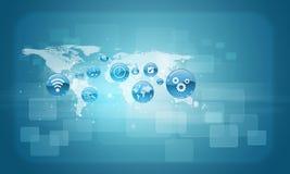 Weltkarte mit APP-Ikonen Stockfoto